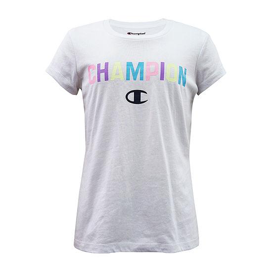Champion Little & Big Girls Crew Neck Short Sleeve Graphic T-Shirt