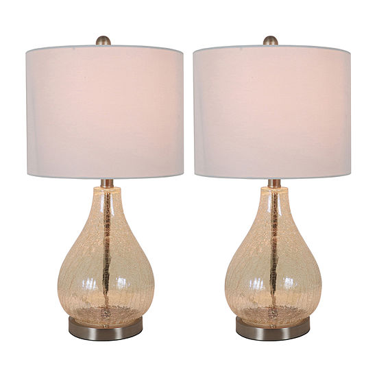 Decor Therapy Crackled Teardrops 2-pc. Lamp Set
