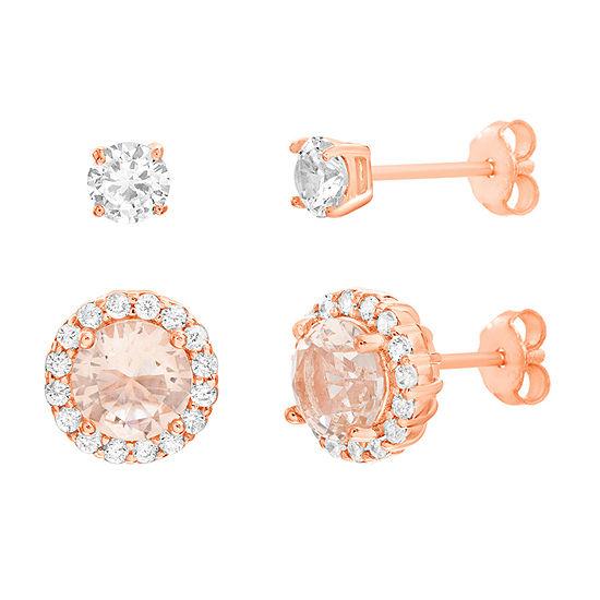 Silver Treasures 2 Pair Morganite Earring Set