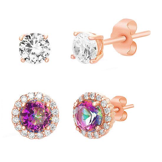 Silver Treasures 2 Pair Mystic Fire Cubic Zirconia Earring Set