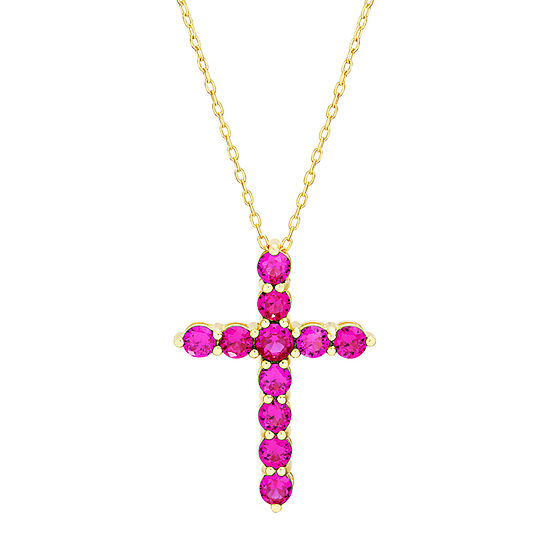 Silver Treasures Ruby 14K Gold Over Silver 18 Inch Cable Cross Pendant Necklace