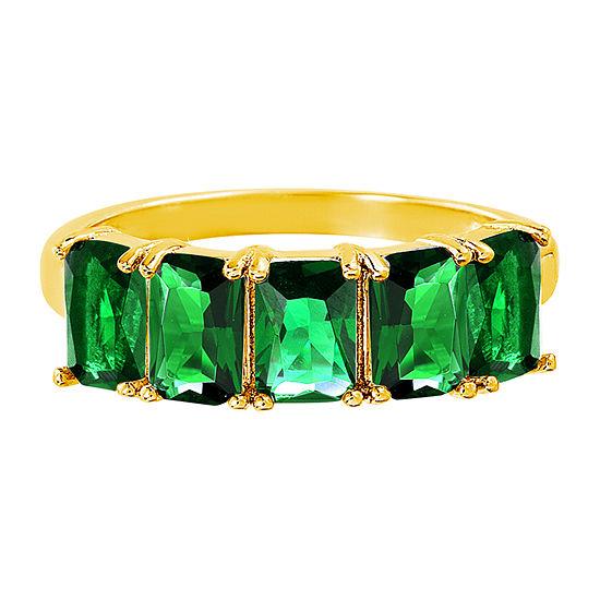 Silver Treasures Emerald 14K Gold Over Silver Band