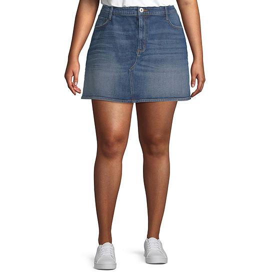 Arizona Womens Denim Skirt-Juniors Plus