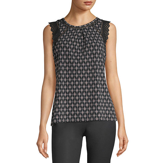 Liz Claiborne Womens Crew Neck Sleeveless Blouse