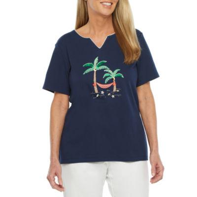 Alfred Dunner Island Hopping Womens Split Crew Neck Short Sleeve T-Shirt