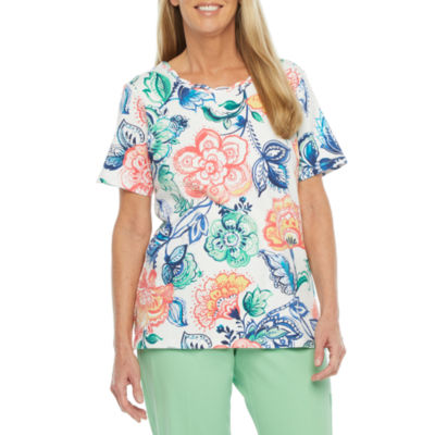 Alfred Dunner Island Hopping Womens Round Neck Short Sleeve T-Shirt