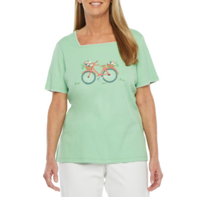 Alfred Dunner Island Hopping Womens Square Neck Short Sleeve T-Shirt