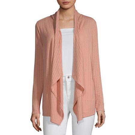 Liz Claiborne Womens Long Sleeve Cardigan, Large , Pink