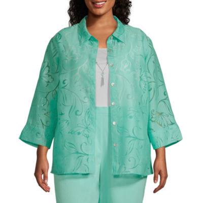 Alfred Dunner Spring Lake Womens 3/4 Sleeve Layered Top-Plus