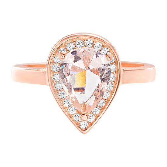Silver Treasures Pink Morganite 14K Rose Gold Over Silver Pear Cocktail Ring