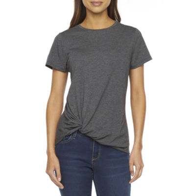 St. John's Bay Womens Crew Neck Short Sleeve T-Shirt