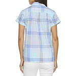 St. John's Bay Womens Short Sleeve Regular Fit Button-Down Shirt