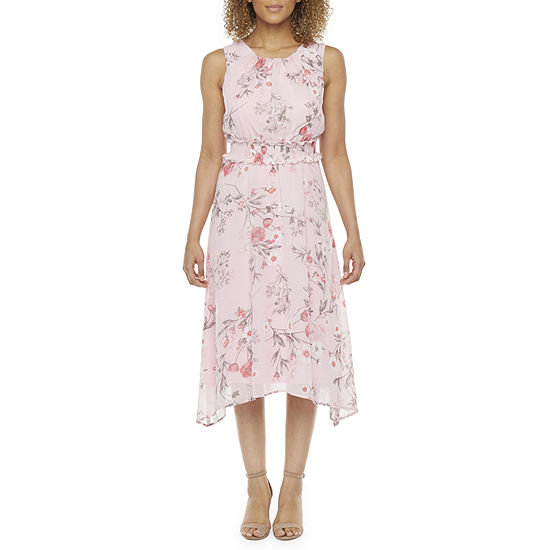 R & K Originals Sleeveless Floral High-Low Fit & Flare Dress