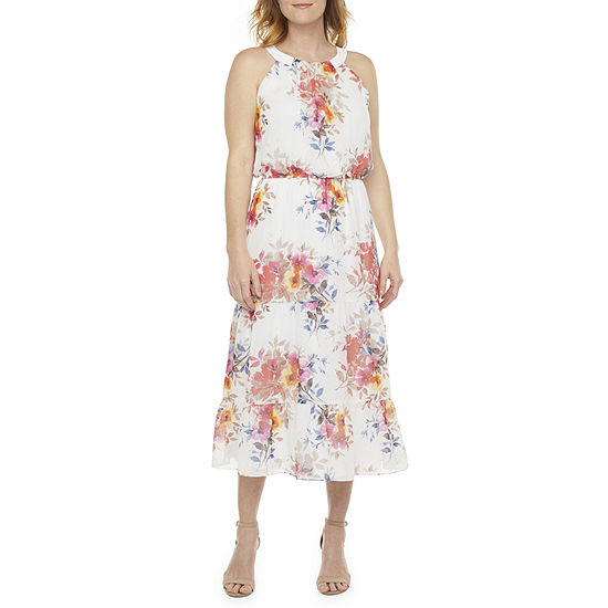 Robbie Bee Sleeveless Floral Midi Fit & Flare Dress