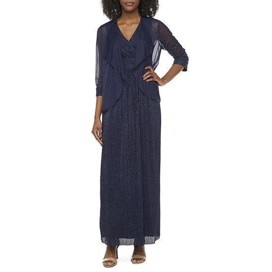 R & M Richards 3/4 Sleeve Glitter Jacket Dress