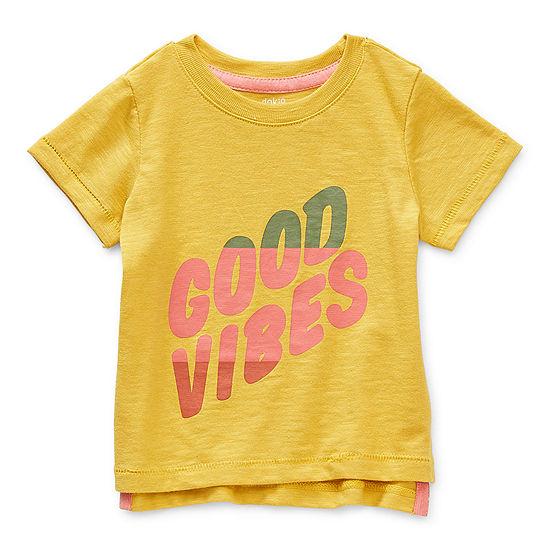 Okie Dokie Baby Boys Scallop Neck Short Sleeve Graphic T-Shirt