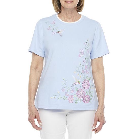 Alfred Dunner Classics Womens Short Sleeve T-Shirt