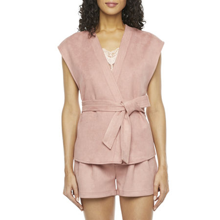 Ryegrass Womens Faux Suede Vest, Large , Pink