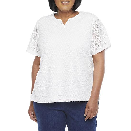 Alfred Dunner Classics Womens Plus Split Crew Neck Short Sleeve T-Shirt