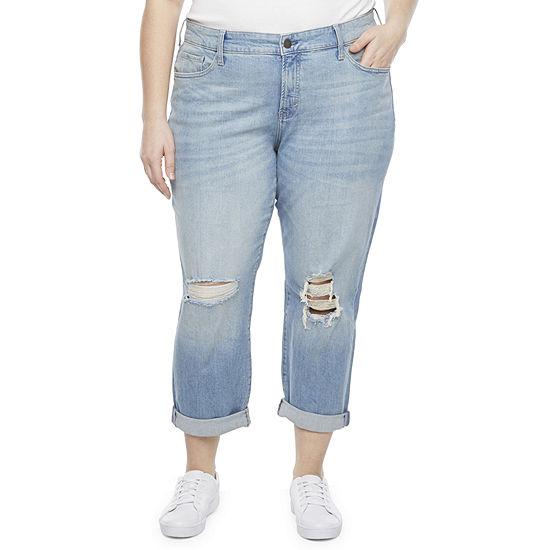 a.n.a-Plus Womens Destructed Boyfriend Jeans