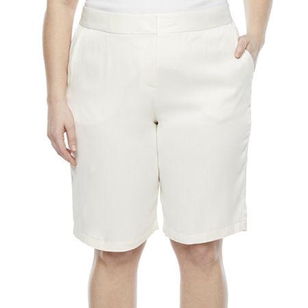 1950s Style Clothing & Fashion Worthington Womens High Rise 12 Bermuda Short-Plus 24w  White $20.99 AT vintagedancer.com