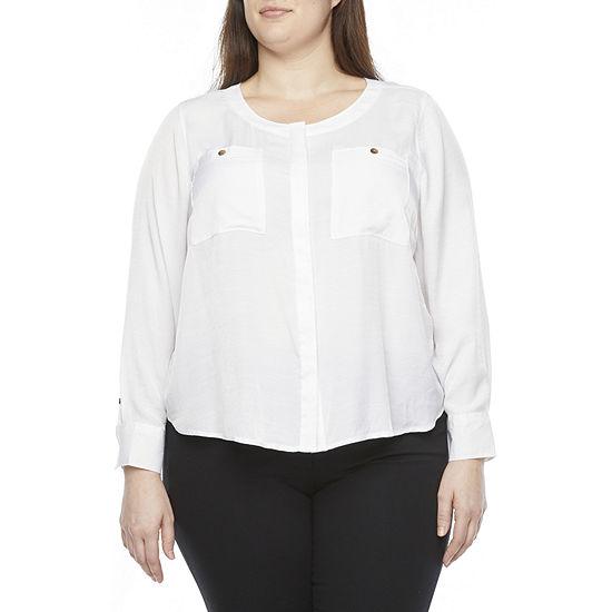 Liz Claiborne-Plus Womens Round Neck Long Sleeve Blouse