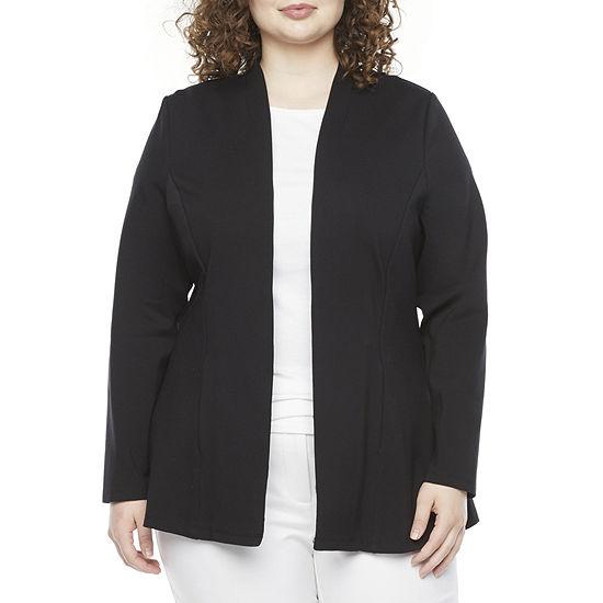 Liz Claiborne-Plus Womens Long Sleeve Open Front Cardigan