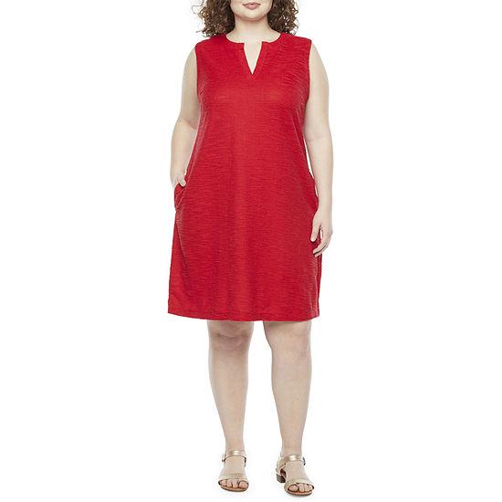 Liz Claiborne-Plus Sleeveless Shift Dress