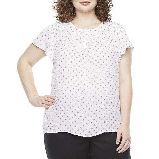 Liz Claiborne Plus Womens Crew Neck Short Sleeve Blouse