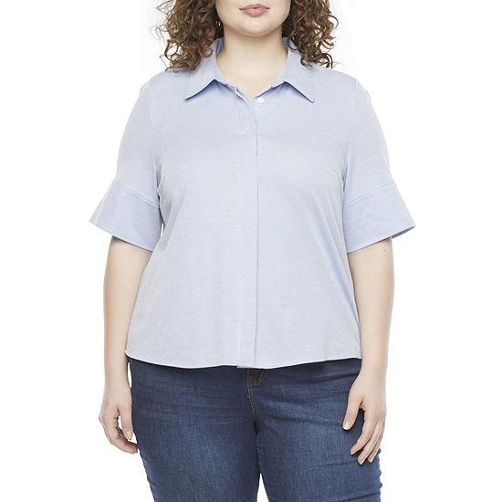Liz Claiborne-Plus Womens Elbow Sleeve Tunic Top