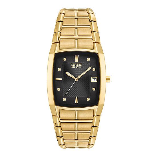 Citizen Paradigm Mens Gold Tone Stainless Steel Bracelet Watch - Bm6552-52e