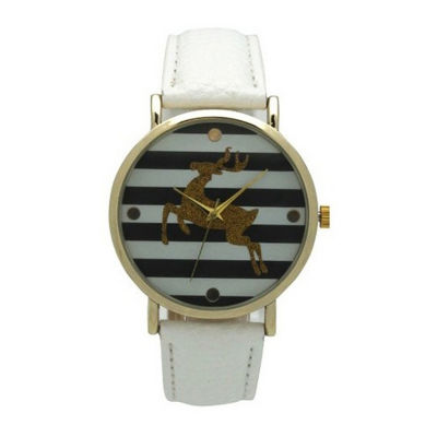 Olivia Pratt Reindeer Womens White Strap Watch-137962white