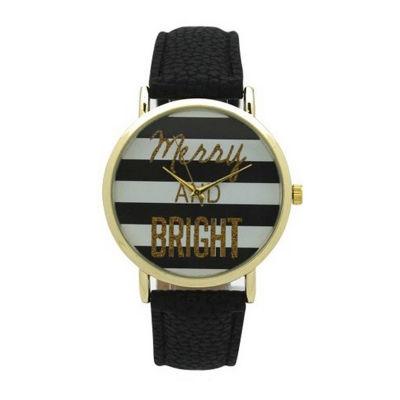 Olivia Pratt Holiday Womens Black Strap Watch-137962black