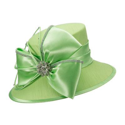 Giovanna Signature Women's Fabric Covered Hat with Big Satin Flower and Rhinestone Jewelry