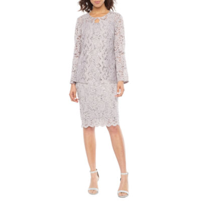 Onyx Nites Long Sleeve Lace Jacket Dress