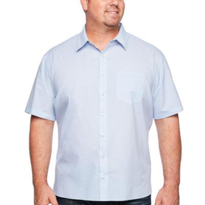Van Heusen Never Tuck Short Sleeve Pattern Button-Front Shirt-Big and Tall