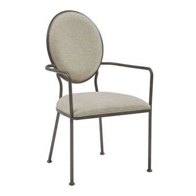 Oval Back Linen Dining Arm Chair