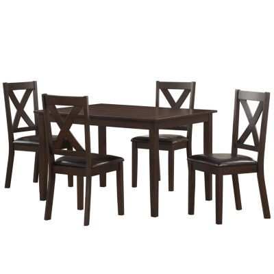 Traditional Style 5-Piece Rectangular Table with X-Back Chairs