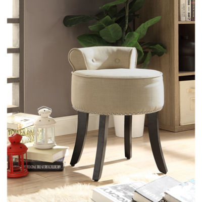 Inspired Home Margot Linen Contemporary Nailhead Trim Rolled Back Vanity Stool