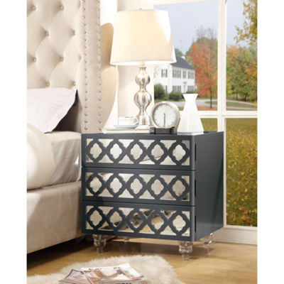 Inspired Home Francesca MDF Wood Modern Lacquer Finish Lucite Leg Nightstand