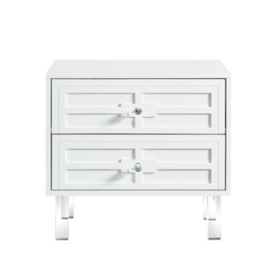 Inspired Home Gillian MDF Wood Modern Lacquer Finish Lucite Leg Nightstand