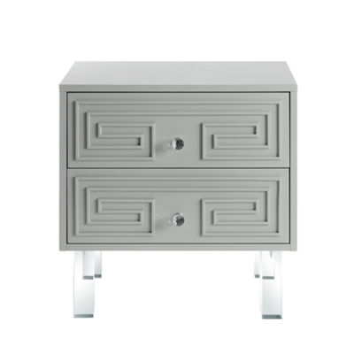 Inspired Home Isobel MDF Wood Modern Greek Key Lacquer Finish Lucite Leg Nightstand
