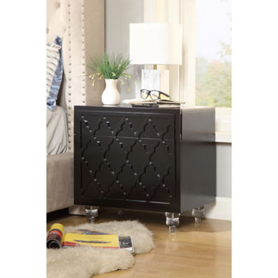 Inspired Home Keira MDF Wood Modern Trellis Lacquer Finish Lucite Leg Nightstand