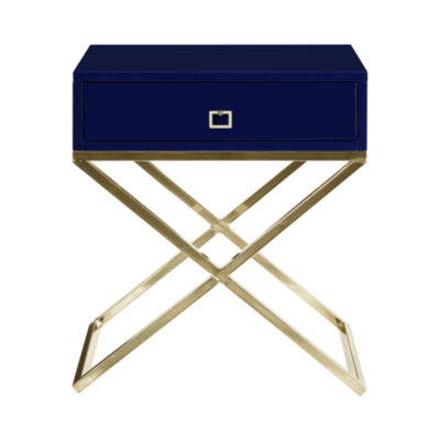 Inspired Home Laila MDF Wood Modern Square Lacquer Finish Gold Steel X Metal Leg Nightstand