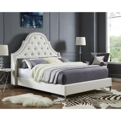 Inspired Home Fedele Linen Button Tufted with Nailhead Trim Platform Bed