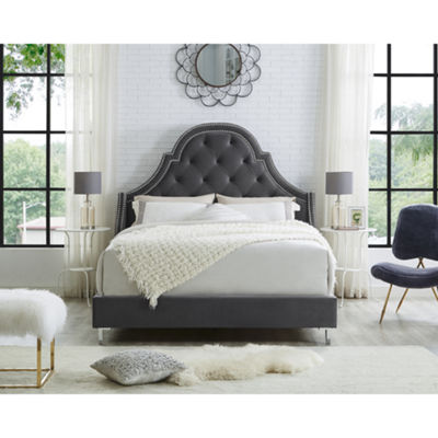 Inspired Home Fedele Velvet Button Tufted with Nailhead Trim Platform Bed