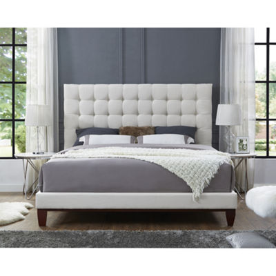 Inspired Home Telford Linen Button Tufted Platform Bed