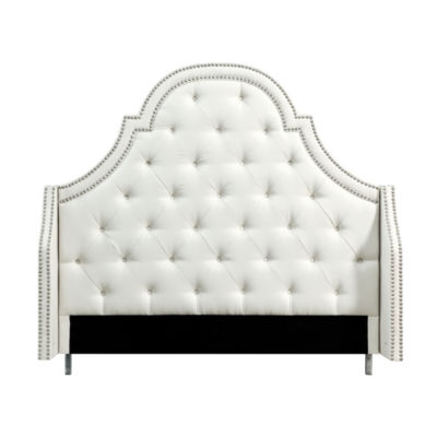 Inspired Home Fedele Linen Button Tufted with Nailhead Trim Headboard