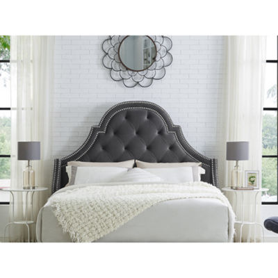 Inspired Home Fedele Velvet Button Tufted with Nailhead Trim Headboard
