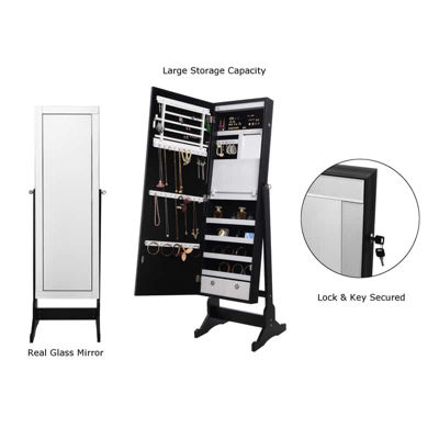 Inspired Home Adele Full Length Jewelry Cheval Armoire Makeup Storage Organizer Mirror Border Lockable with LED Lights